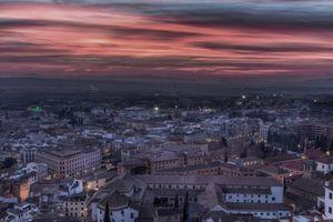 Фото бесплатно Испания, Ночной городской пейзаж освещение, Гранада