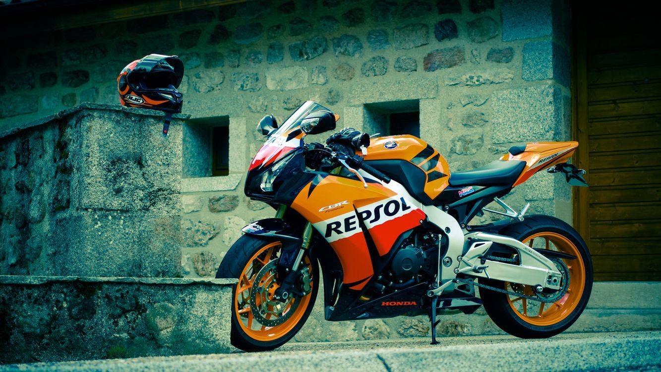 Обои Honda CBR Repsol, желтый, мотоцикл картинки на телефон