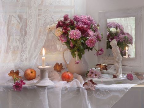 Photo free candle, flowers, background