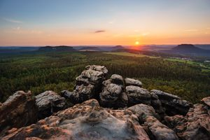 Photo free Sunset at the tablemountain, Gohrisch, Saxon Switzerland National Park