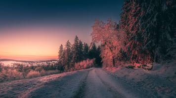 Бесплатные фото зима,Германия,Оденвальд,закат,дорога,снег,лес