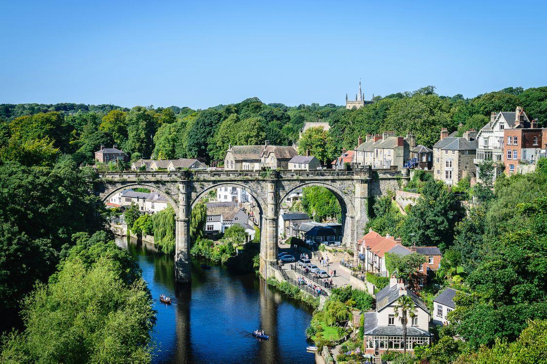Фото бесплатно знодорожный мост, река Нидд, Кнаресборо, Северный Йоркшир, Англия, город