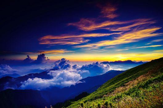Фото бесплатно море облаков, закат, горы