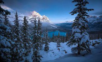 Заставки Peyto Lake,Banff National Park,Озеро Пейто,национальный парк Банф,Альберта,Канада,закат