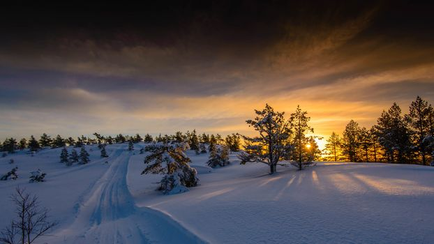 Photo free sunset, winter, Norway