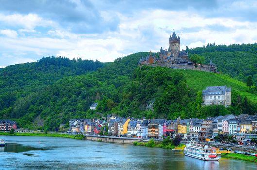 Бесплатные фото Cochem,Mosel Valley,Germany,Кохем-Мозельская Долина,Германия,Замки Мозеля,город,замок,река,пейзаж