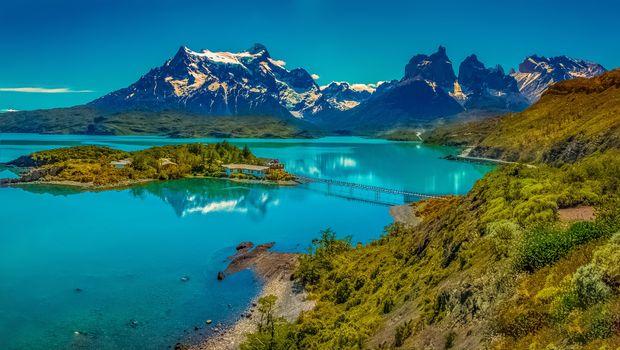 Заставки Lake Pehoe, Chile, Озеро Пехое