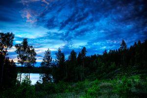 Заставки озеро, деревья, силуэты, закат, сумерки, пейзаж