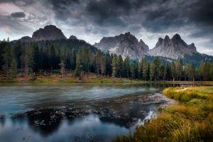 Бесплатные фото Доломитовые Альпы,Италия,Доломиты,озеро,горы,закат,небо