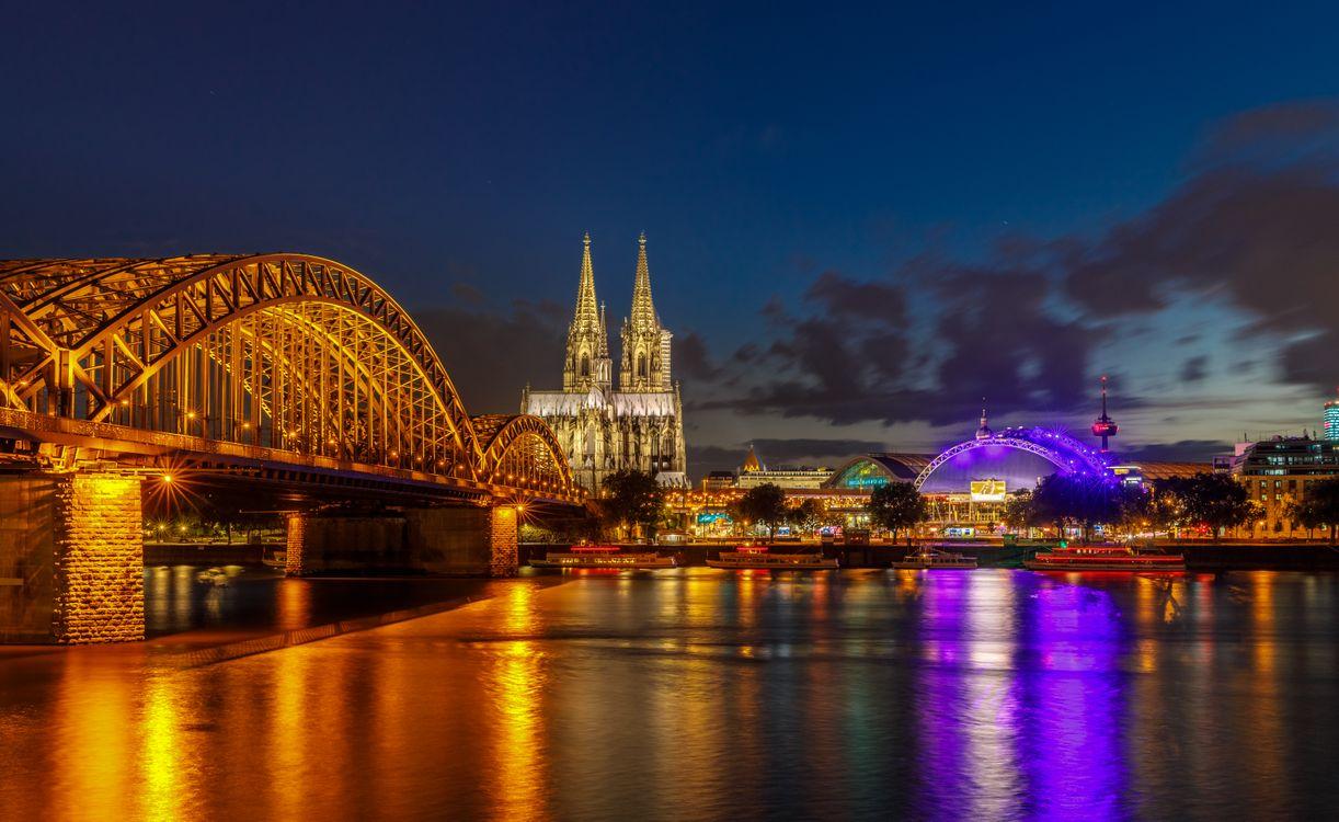 Фото бесплатно Кёльн, Германия, панорама, город, ночь, иллюминация, ночные города, город - скачать на рабочий стол