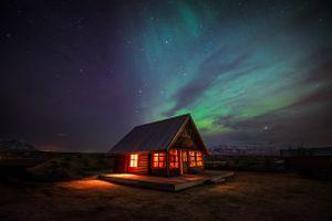 Заставки огни,дом,ночь,северный,Норвегия,остров,Арктический