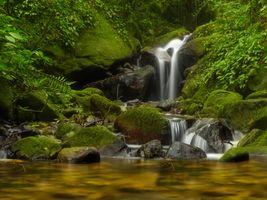Фото бесплатно река, водопад, мох
