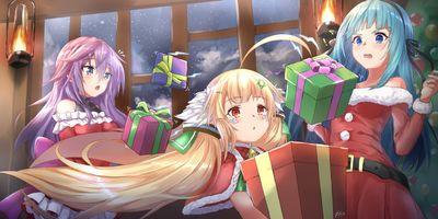 Фото бесплатно аниме Рождество 2018, платье Санта Клауса, девушки