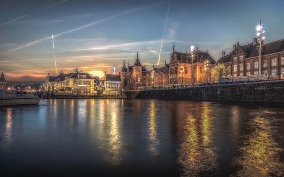 Photo free Amsterdam, Netherlands, sunset