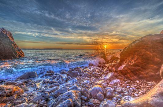 Фото бесплатно Полуостров Палос Вердес, закат, море, пляж, камни, берег, волны, природа, пейзаж