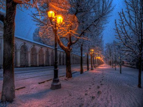 Первый снег вечерним днем