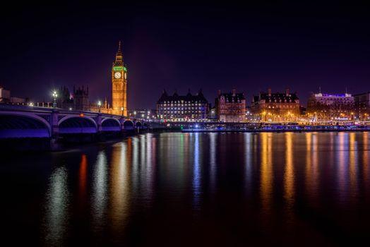 Бесплатные фото England,London,Westminster,Westminster Bridge,Big Ben,ночные города