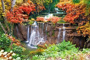 Фото бесплатно осенний каскадный водопад, река, осень