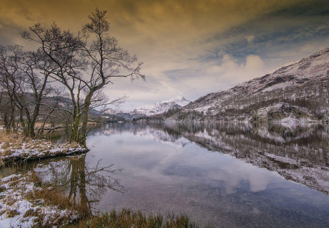 Фото winter lake Llyn Gwynant - бесплатные картинки на Fonwall