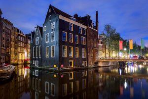 Бесплатные фото Amsterdam,Holland,город,ночь,Амстердам,Голландия