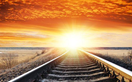 Фото бесплатно солнечный свет, железная дорога, небо
