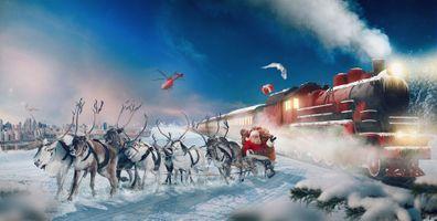 Бесплатные фото santa-claus,полярный экспресс,олени,зима,новый год,рождество,новогодние обои