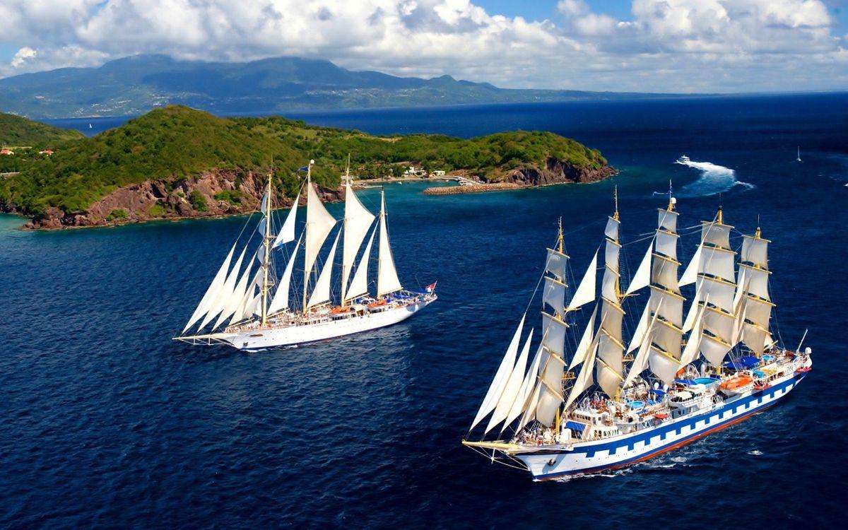 Фото бесплатно два корабля, парусники, океан, остров, роскошь, природа, отражение, корабль, обои, мачты, корабли - скачать на рабочий стол