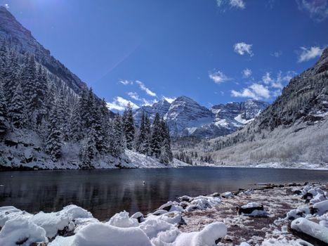 Бесплатные фото Марун Беллс,Колорадо,United States,Maroon Bells,Colorado,зима,горы,деревья,природа,пейзаж