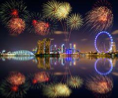 Фото бесплатно Сингапур, Marina Bay, салют