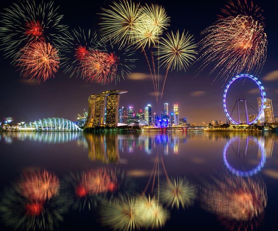 Фото бесплатно Сингапур, Marina Bay, салют - на рабочий стол