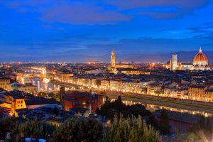 Бесплатные фото Флоренция,Италия,город,ночь,иллюминация,ночные города