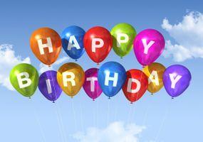 Заставки с Днем рождения, воздушные шары, небо