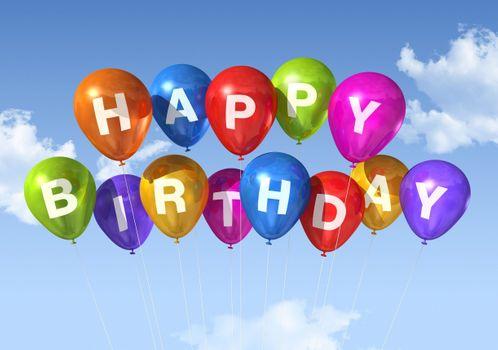 Фото бесплатно с Днем рождения, воздушные шары, небо