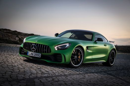Mercedes C AMG GT driving on the highway · free photo