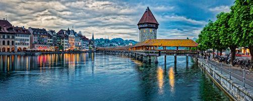 Фото бесплатно Швейцария, Часовенный мост, Водонапорная башня и древний город Люцерн