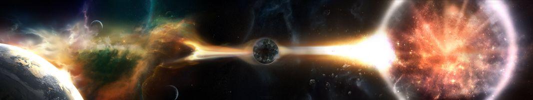 Фото бесплатно черная дыра, планеты, спутники