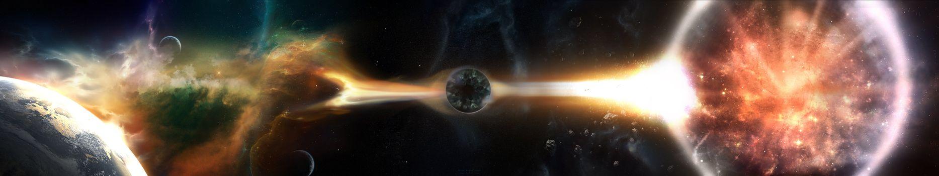 Фото бесплатно черная дыра, планеты, спутники, гравитация, сила притяжения, монитор, мульти, несколько, экран, космос, тройные