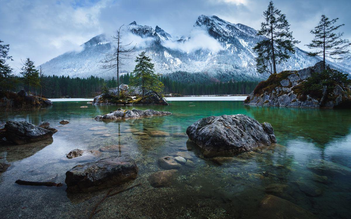 Фото деревья Озеро Хинтерзее горы - бесплатные картинки на Fonwall