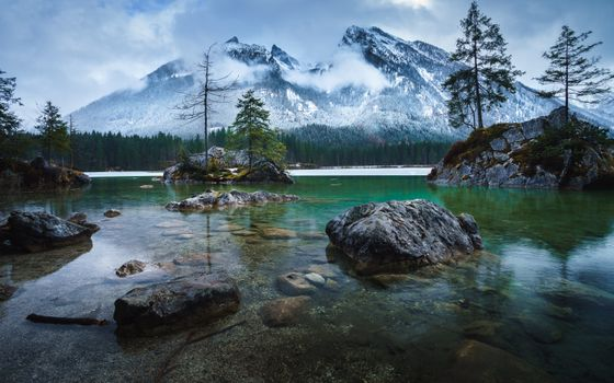 Бесплатные фото Озеро Хинтерзее,Hintersee,Германия,горы,деревья,озеро,пейзаж
