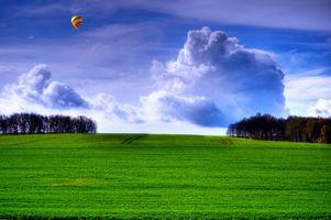 Фото бесплатно поле, трава, небо, облака, деревья, воздушный шар, пейзаж