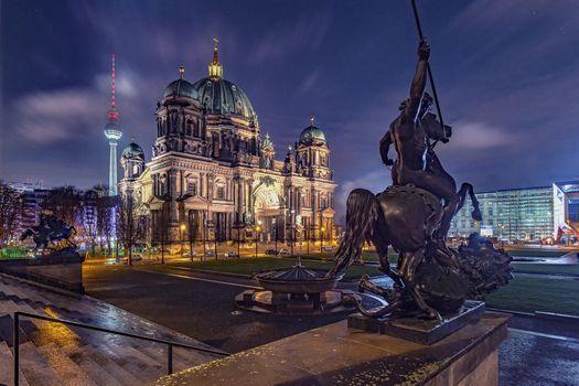 Заставки Берлин, Германия, Берлинский дом, Berliner Dom, ночь, огни, иллюминация, ночные города