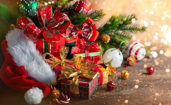 Фото бесплатно Рождественский стиль, подарки, элементы