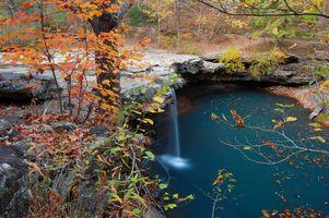 Заставки осень, пейзаж, водоем, деревья, водопад