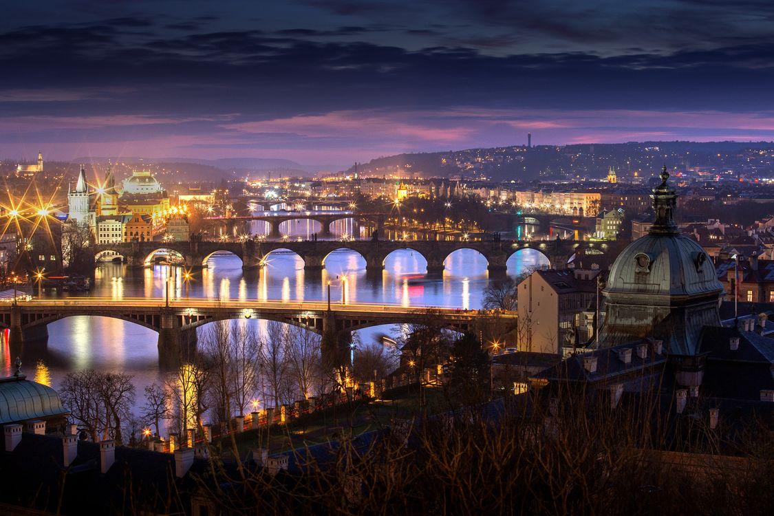 Фото бесплатно Прага, подсветка моста, арки - на рабочий стол