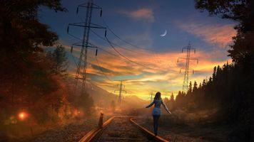 Фото бесплатно закат, небо, луна