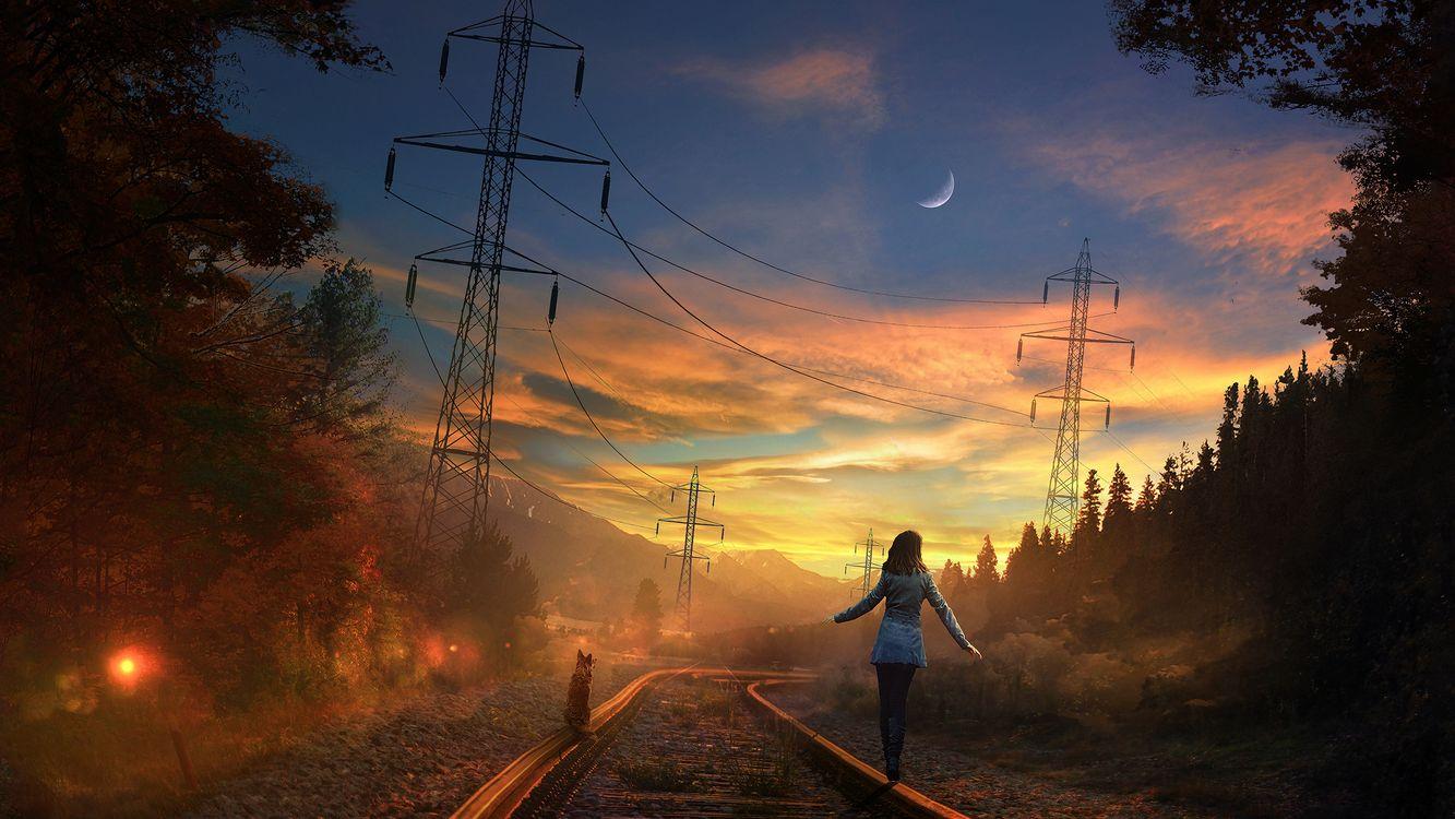 Фото бесплатно закат, небо, луна - на рабочий стол