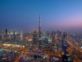 Фото бесплатно Дубай ОАЭ ночь, Небоскребы, освещение