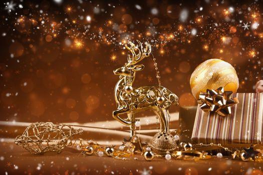 Фото бесплатно Рождество, украшения, золотые