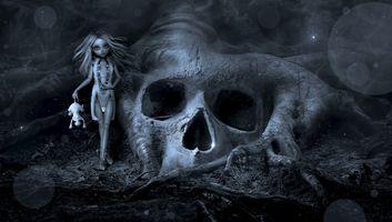 Фото бесплатно свет, темнота, череп и скрещенные кости