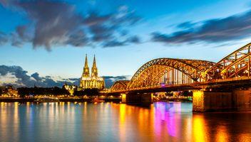 Фото бесплатно Кёльн, Германия, панорама, город, иллюминация